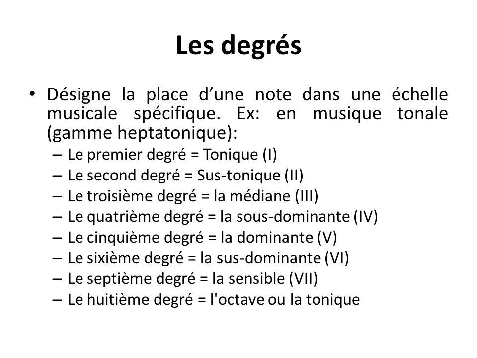 Les degrés Désigne la place d'une note dans une échelle musicale spécifique. Ex: en musique tonale (gamme heptatonique):