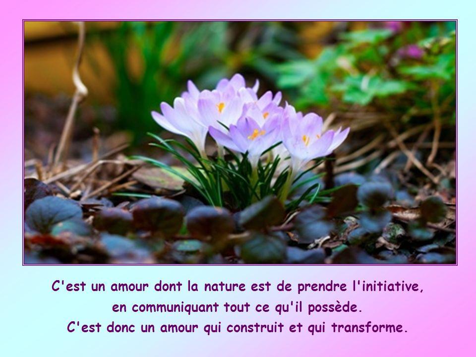 C est un amour dont la nature est de prendre l initiative, en communiquant tout ce qu il possède.