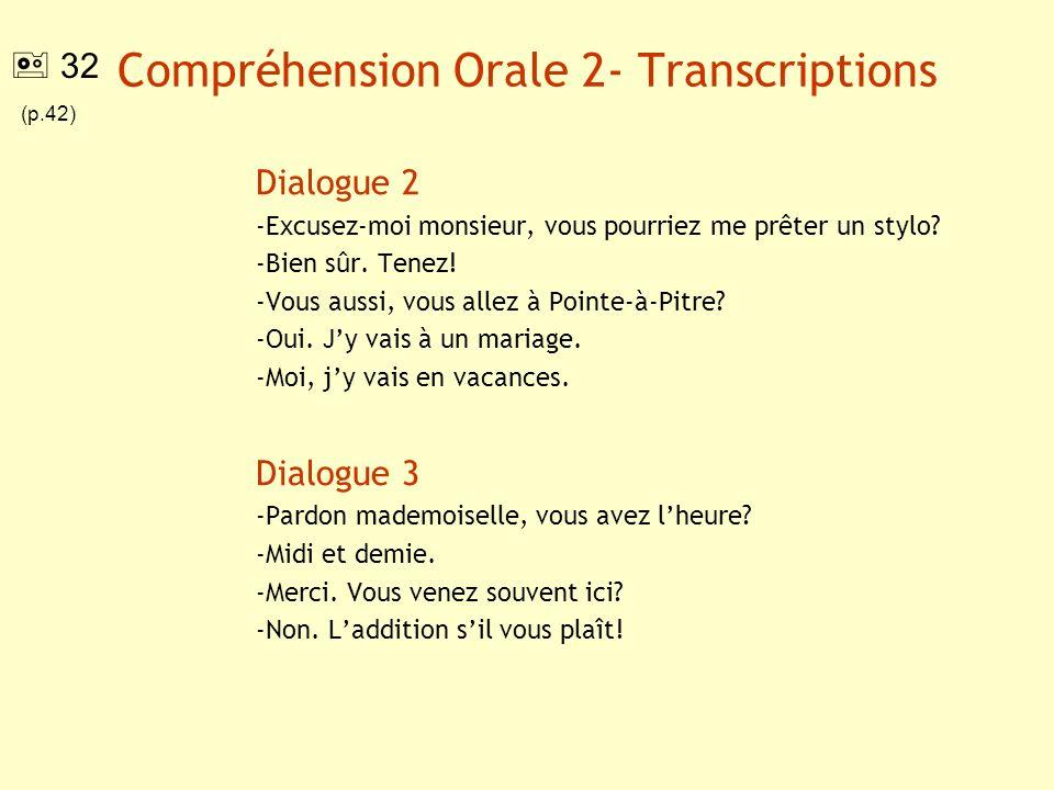 Compréhension Orale 2- Transcriptions