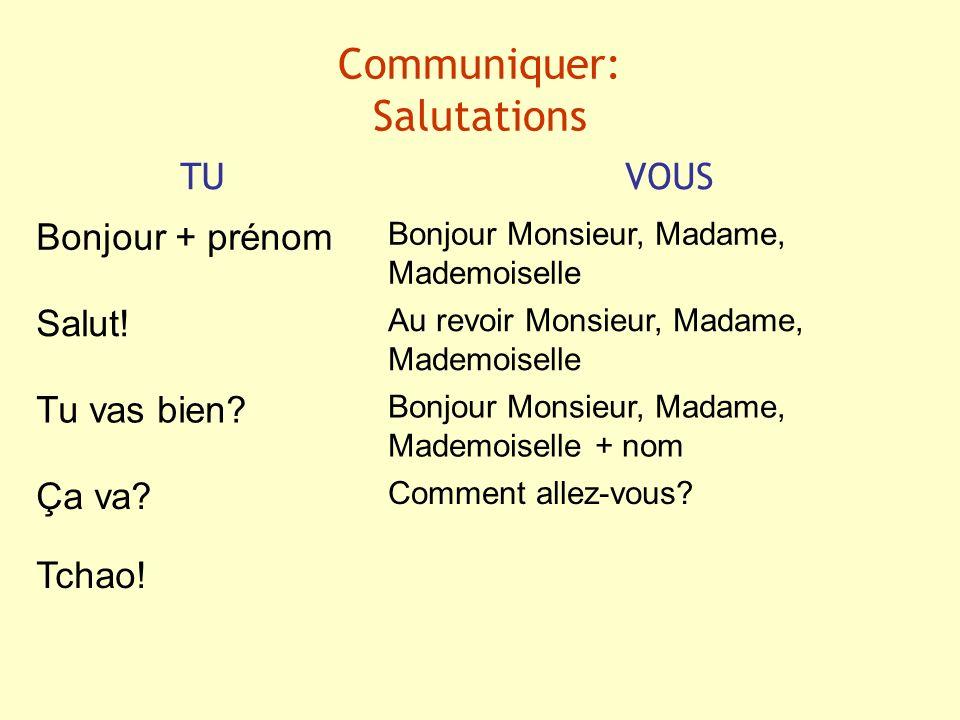 Communiquer: Salutations