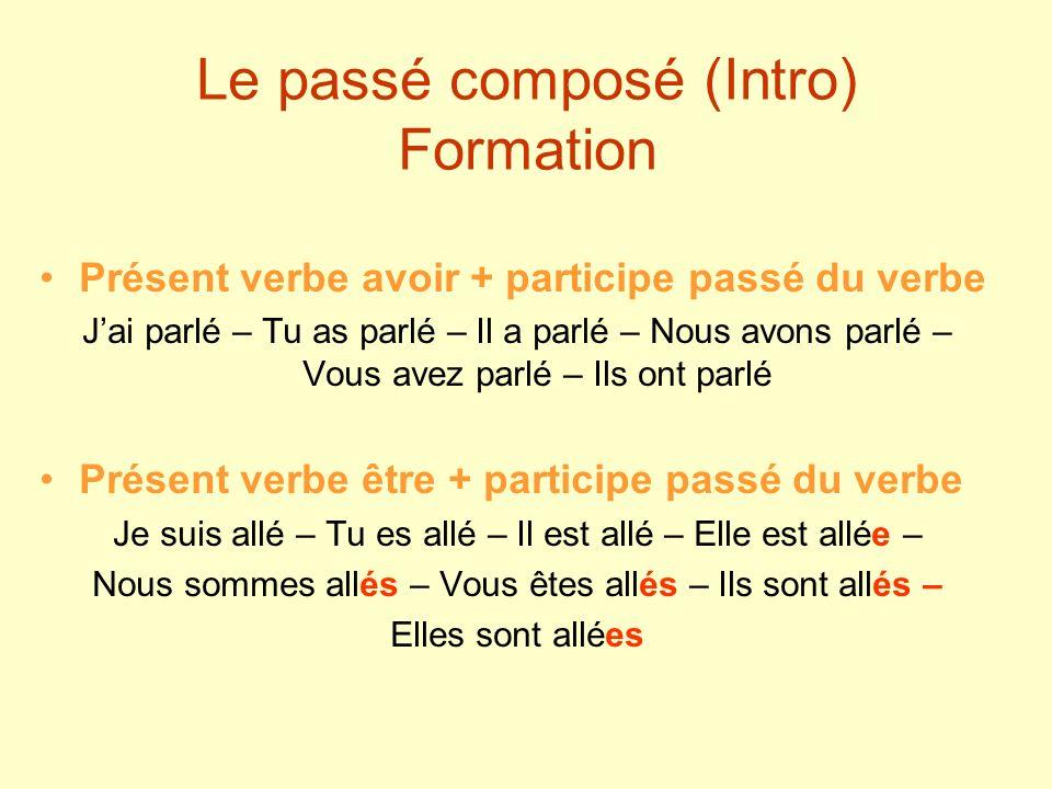 Le passé composé (Intro) Formation