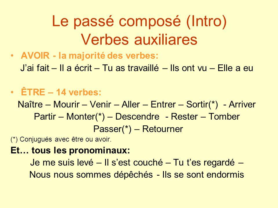 Le passé composé (Intro) Verbes auxiliares