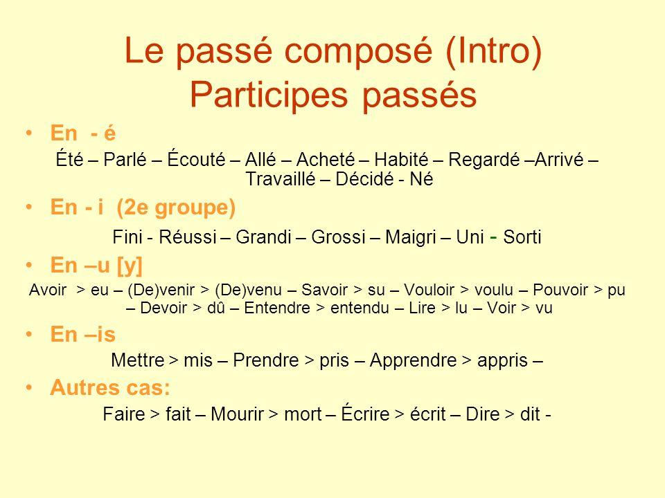 Le passé composé (Intro) Participes passés