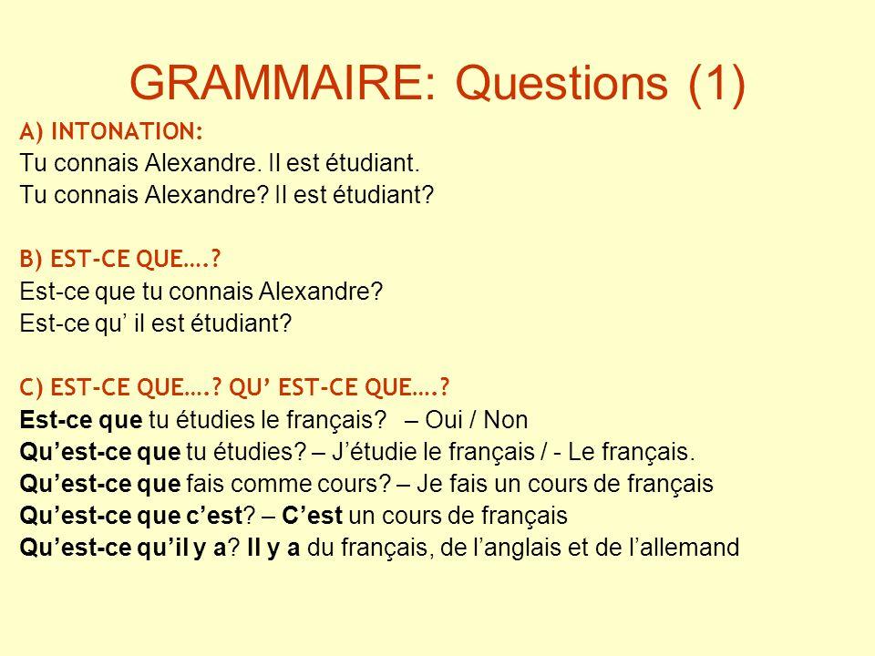 GRAMMAIRE: Questions (1)