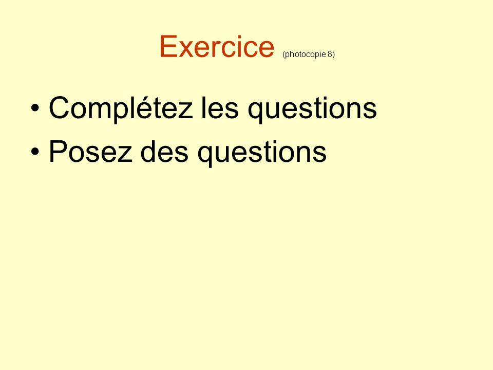Exercice (photocopie 8)