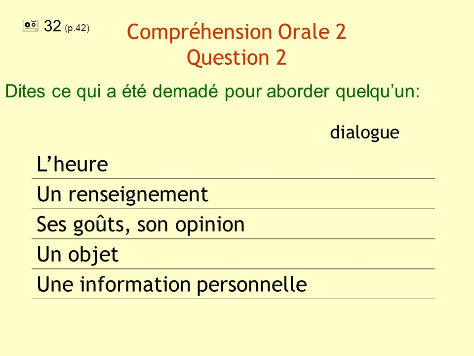 Compréhension Orale 2 Question 2