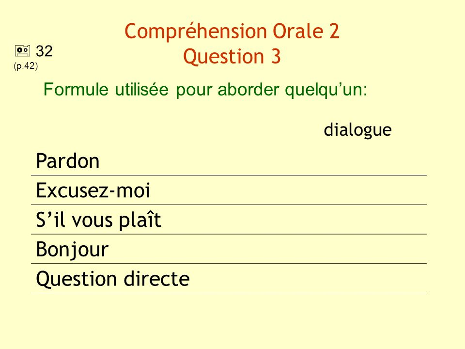 Compréhension Orale 2 Question 3