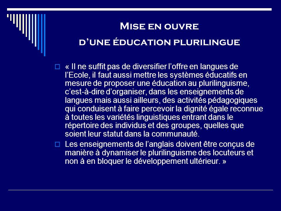 Mise en ouvre d'une éducation plurilingue