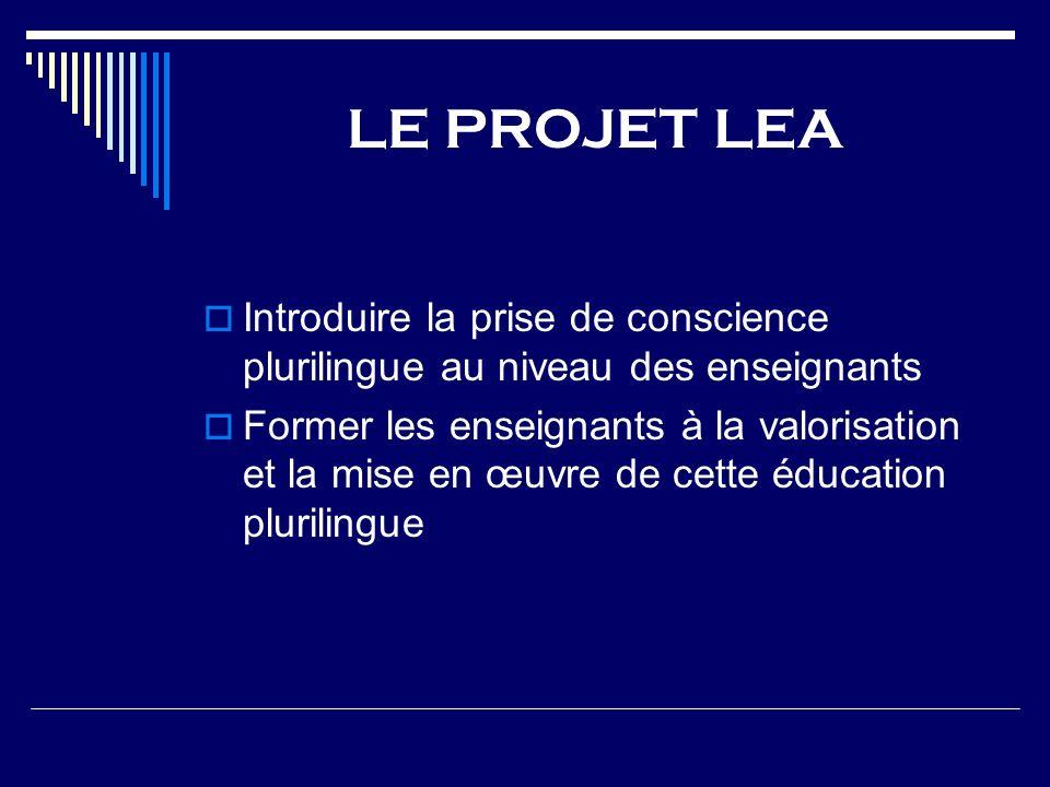 LE PROJET LEA Introduire la prise de conscience plurilingue au niveau des enseignants.