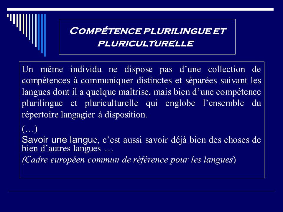 Compétence plurilingue et pluriculturelle