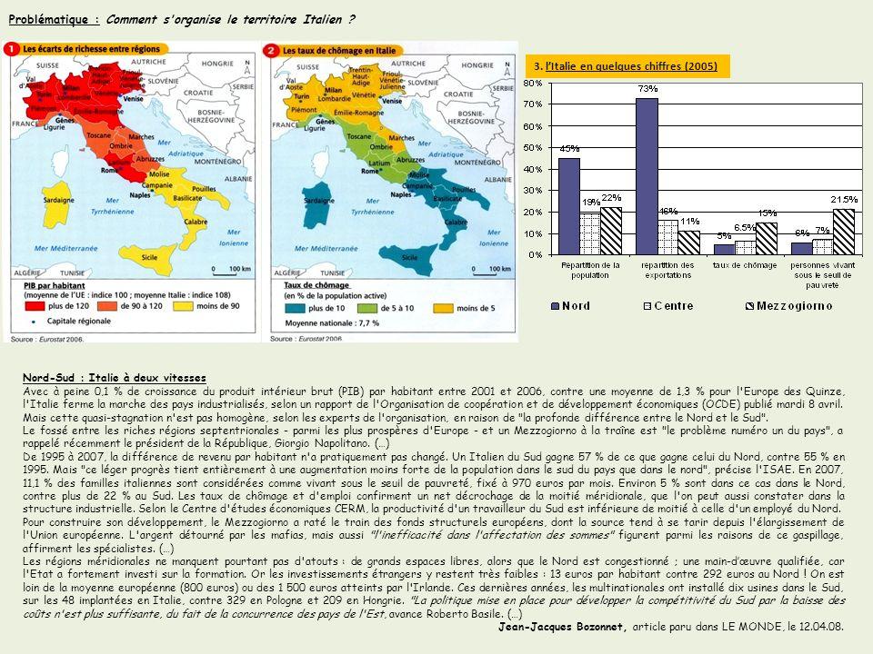 Problématique : Comment s organise le territoire Italien