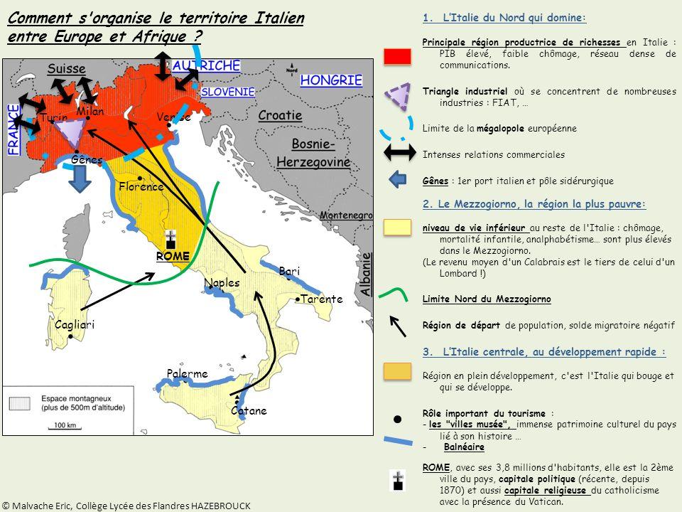 Comment s organise le territoire Italien entre Europe et Afrique