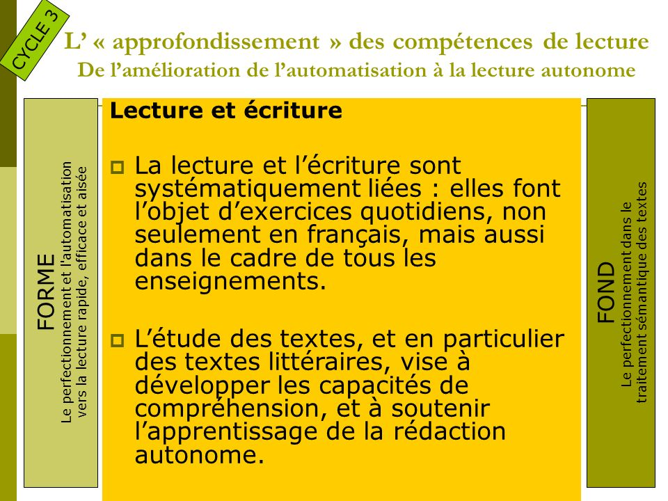CYCLE 3 L' « approfondissement » des compétences de lecture De l'amélioration de l'automatisation à la lecture autonome.