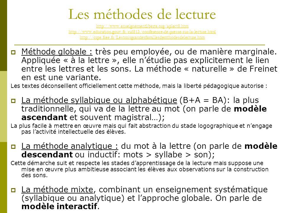 Les méthodes de lecture http://www. enseignementliberte. org/aplect8