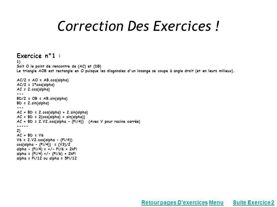 Correction Des Exercices !