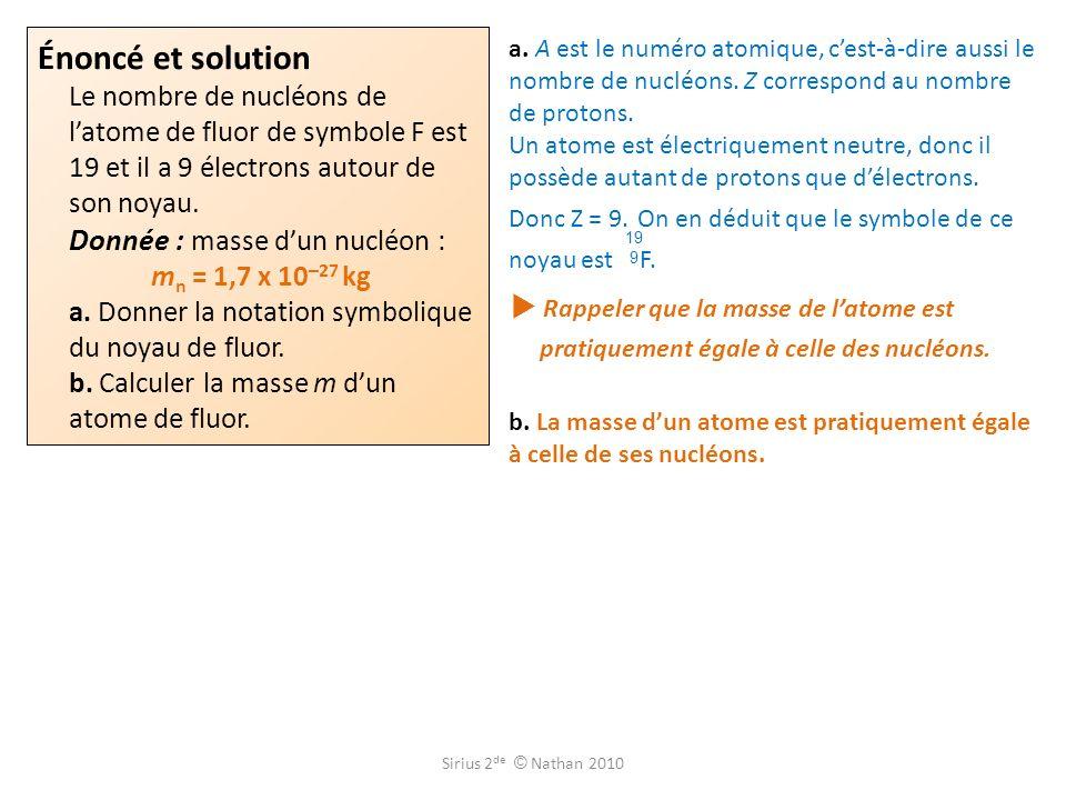 Énoncé et solution Le nombre de nucléons de l'atome de fluor de symbole F est 19 et il a 9 électrons autour de son noyau. Donnée : masse d'un nucléon : mn = 1,7 x 10-27 kg a. Donner la notation symbolique du noyau de fluor.
