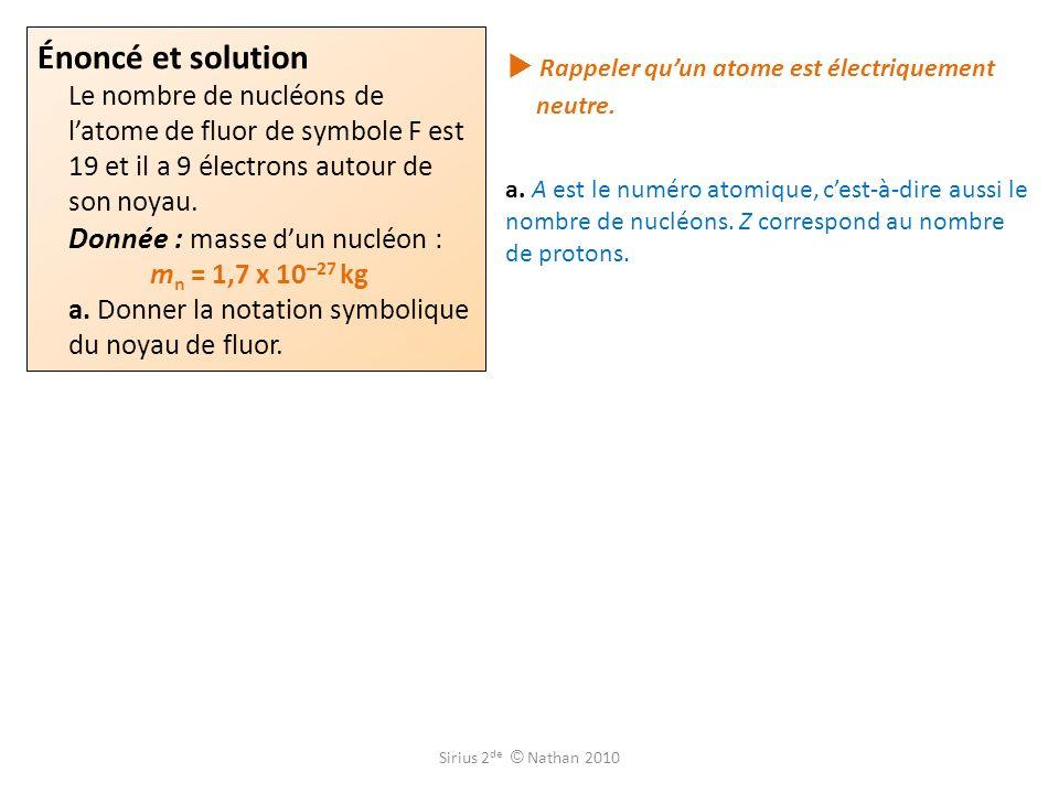  Rappeler qu'un atome est électriquement neutre.