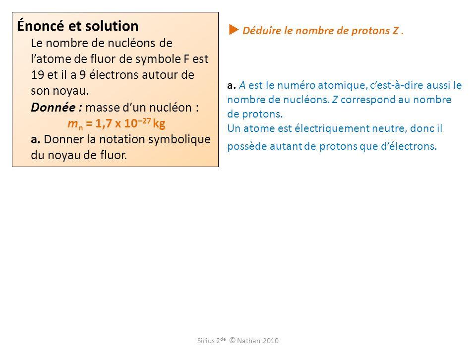  Déduire le nombre de protons Z .