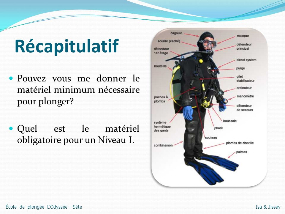Récapitulatif Pouvez vous me donner le matériel minimum nécessaire pour plonger Quel est le matériel obligatoire pour un Niveau I.