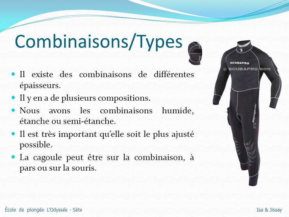 Combinaisons/Types Il existe des combinaisons de différentes épaisseurs. Il y en a de plusieurs compositions.