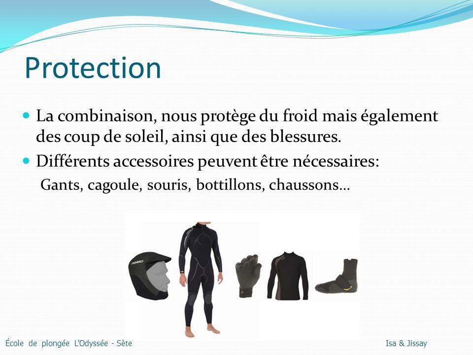 Protection La combinaison, nous protège du froid mais également des coup de soleil, ainsi que des blessures.
