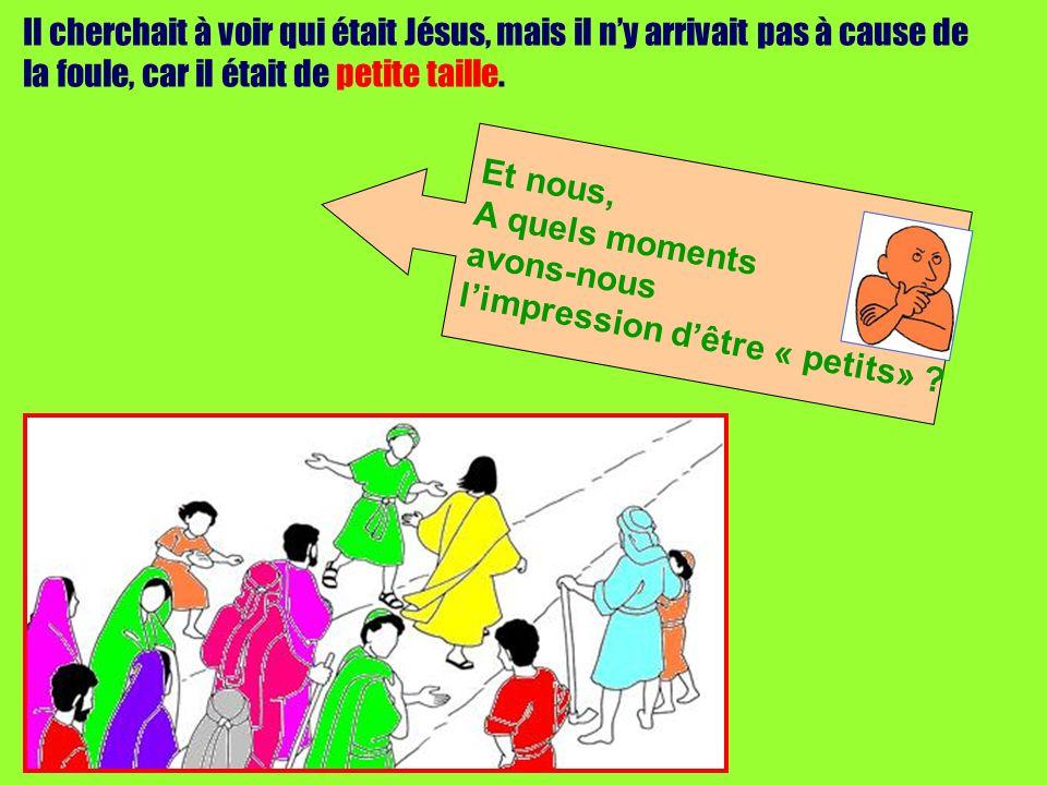 Il cherchait à voir qui était Jésus, mais il n'y arrivait pas à cause de la foule, car il était de petite taille.