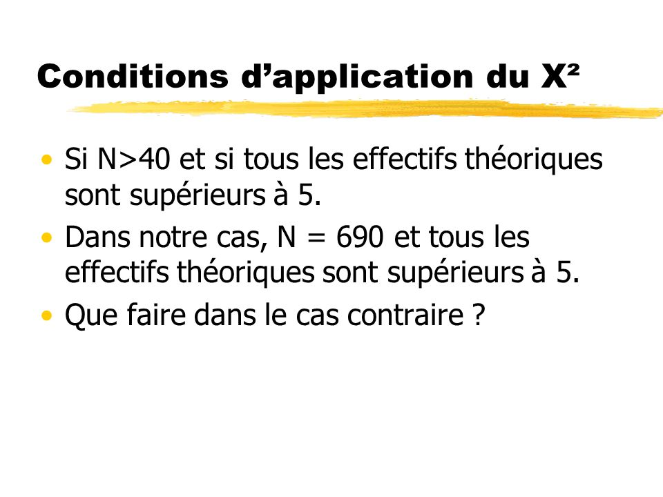 Conditions d'application du X²