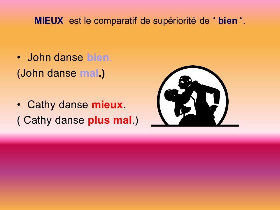 MIEUX est le comparatif de supériorité de bien .
