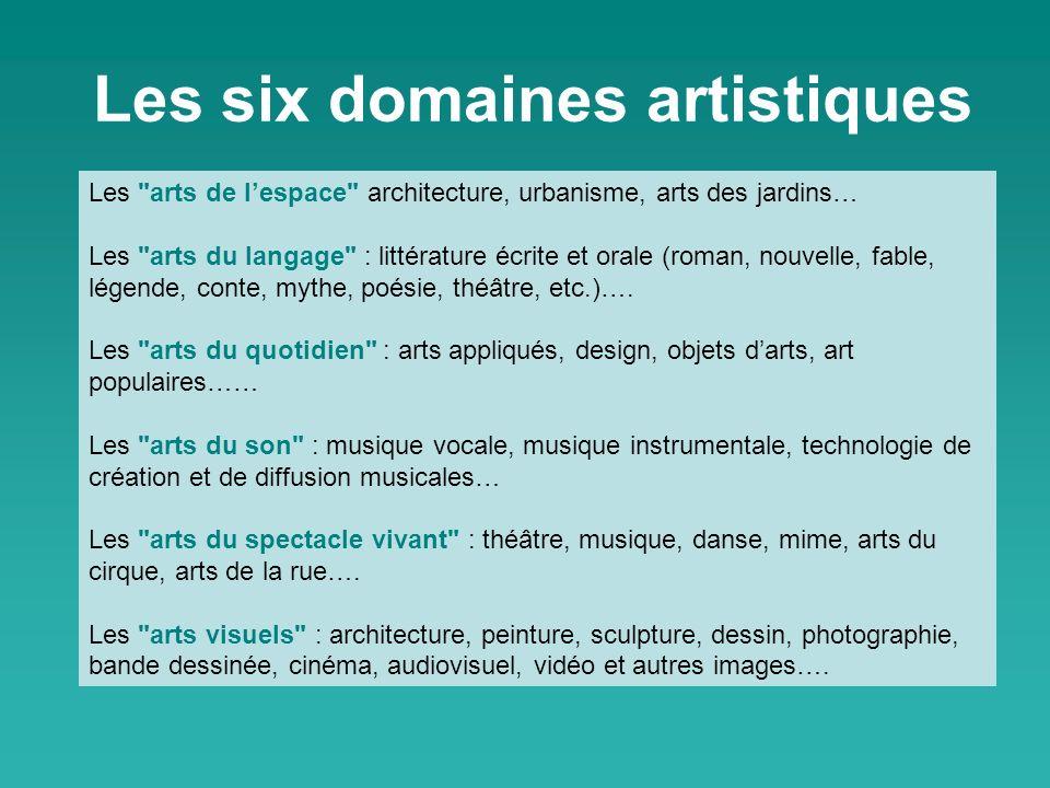 Les six domaines artistiques
