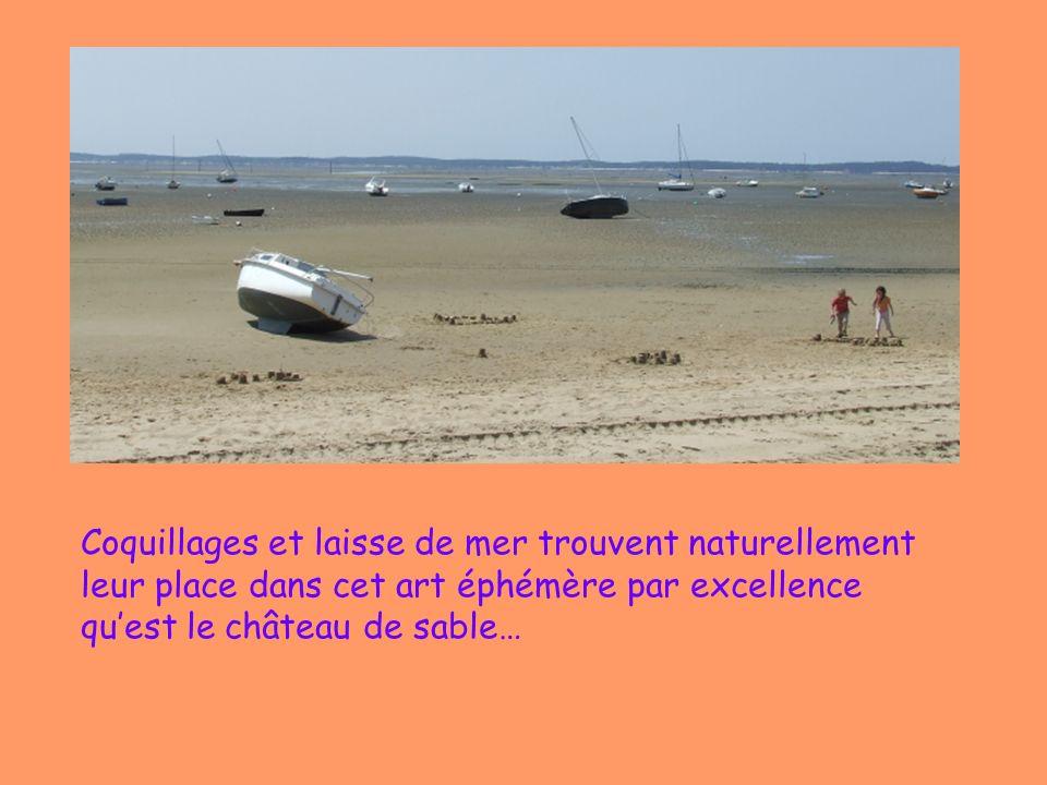 Coquillages et laisse de mer trouvent naturellement leur place dans cet art éphémère par excellence qu'est le château de sable…