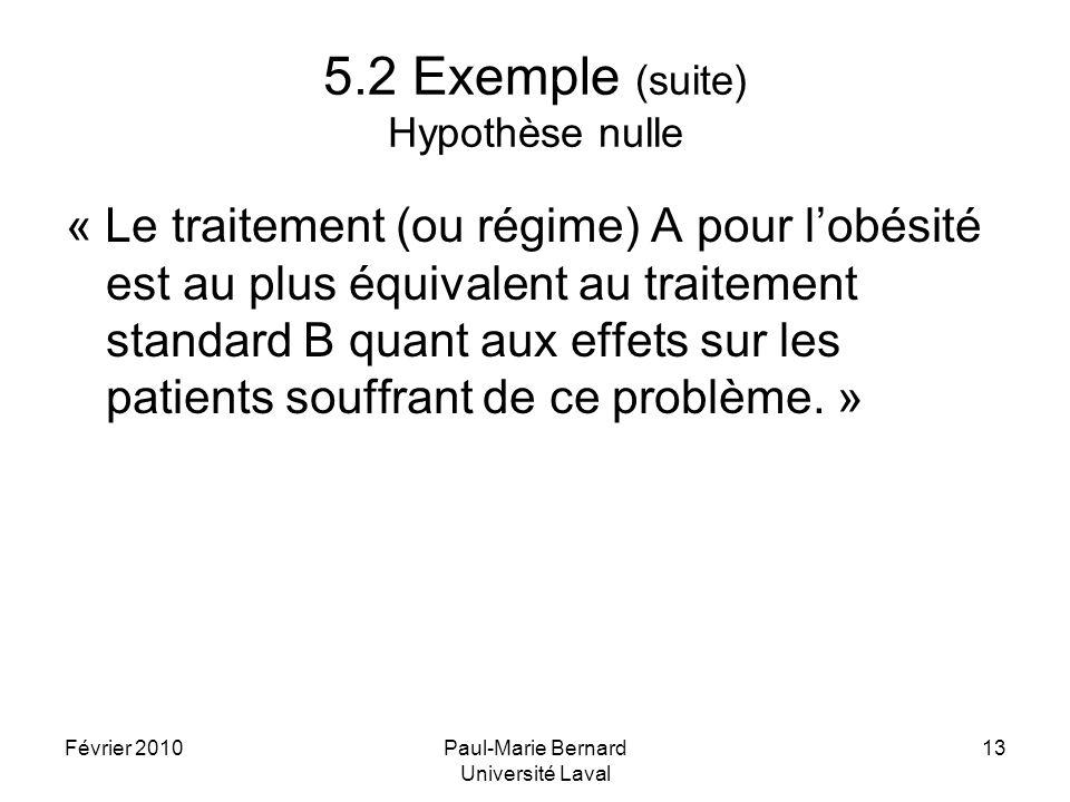 5.2 Exemple (suite) Hypothèse nulle