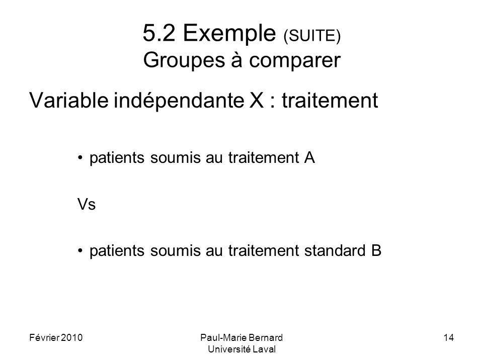 5.2 Exemple (SUITE) Groupes à comparer