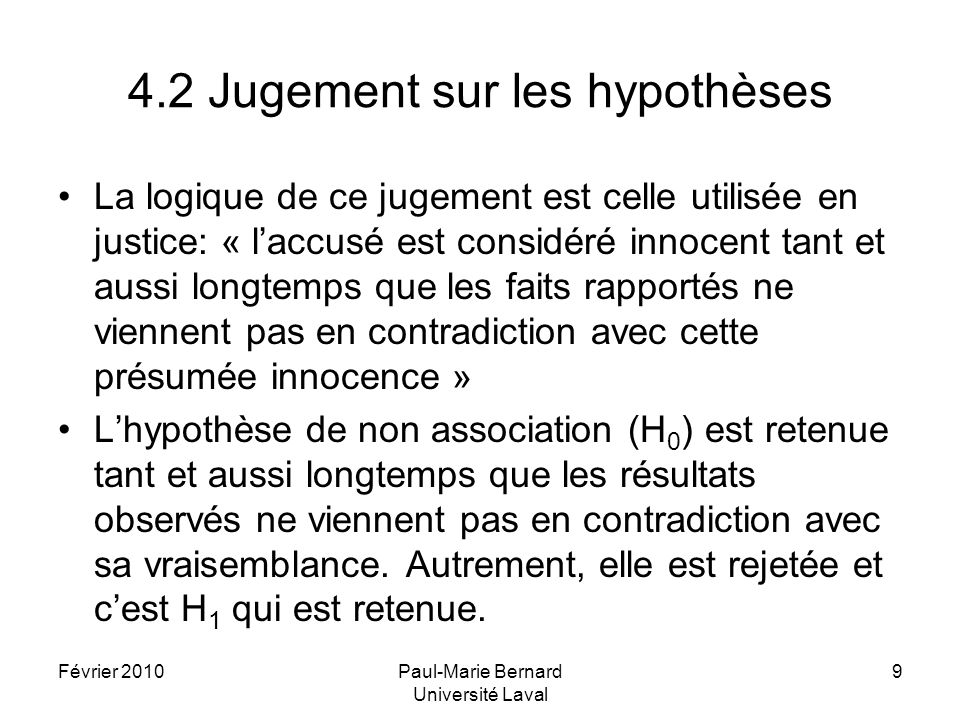 4.2 Jugement sur les hypothèses