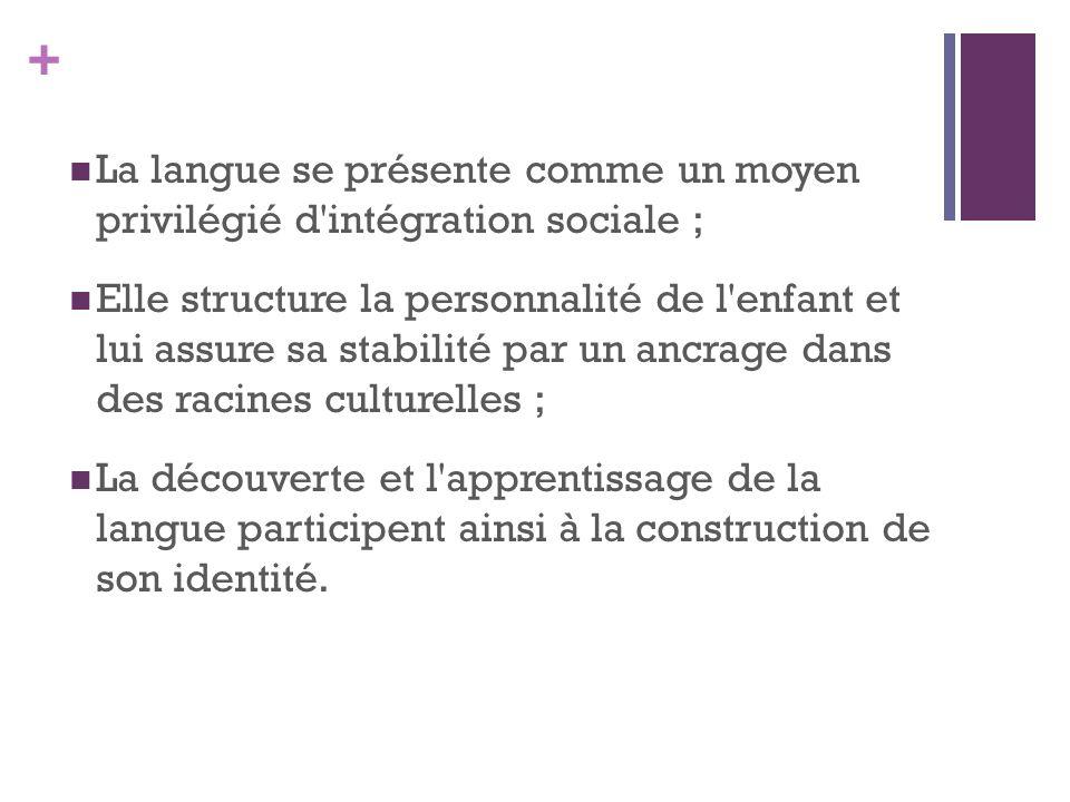 La langue se présente comme un moyen privilégié d intégration sociale ;