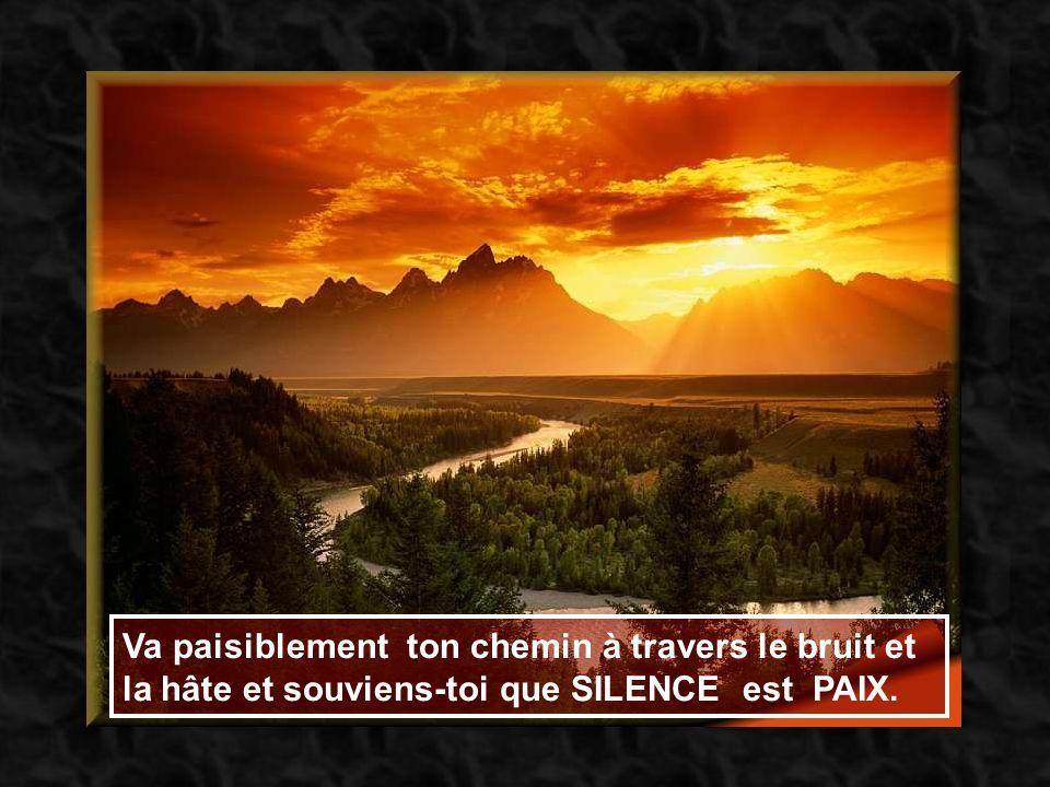 Va paisiblement ton chemin à travers le bruit et la hâte et souviens-toi que SILENCE est PAIX.