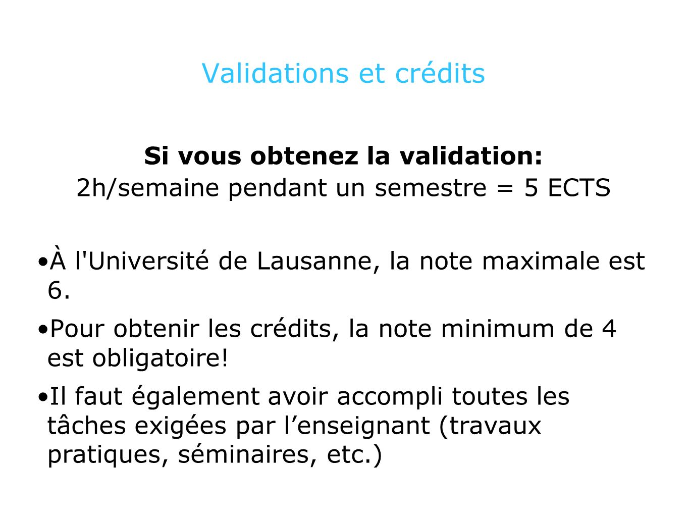 Validations et crédits