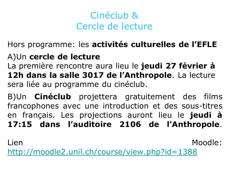 Programme du Cinéclub Première séance le jeudi 27 février à 17h15, salle Antrhopole 2106. Entrée gratuite.