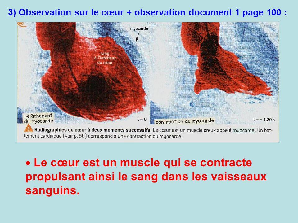 3) Observation sur le cœur + observation document 1 page 100 :