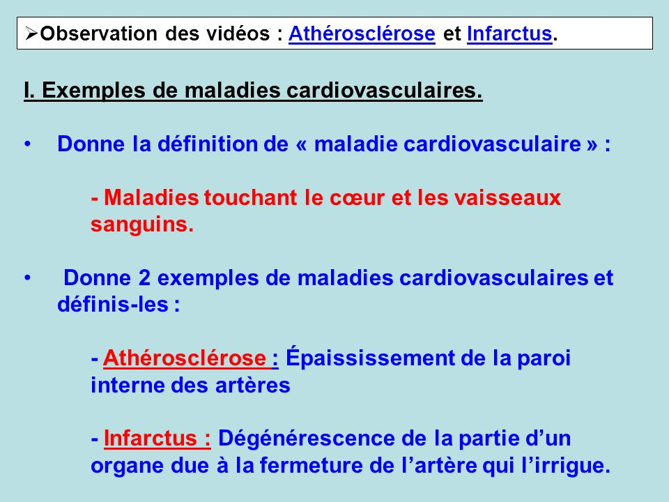 I. Exemples de maladies cardiovasculaires.