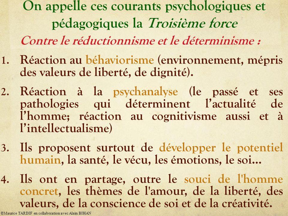 On appelle ces courants psychologiques et pédagogiques la Troisième force