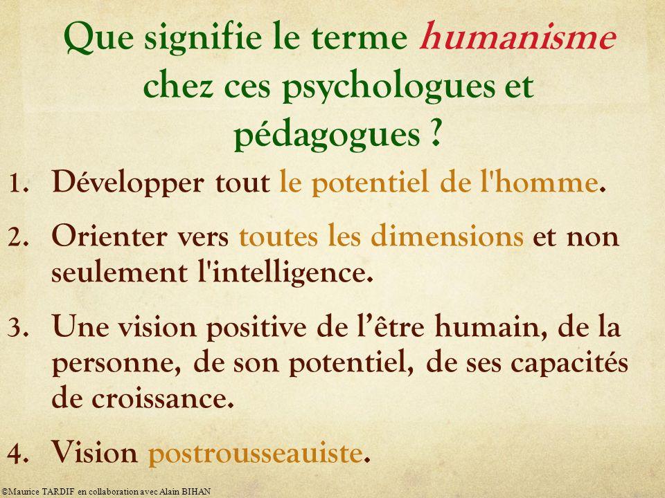 Que signifie le terme humanisme chez ces psychologues et pédagogues