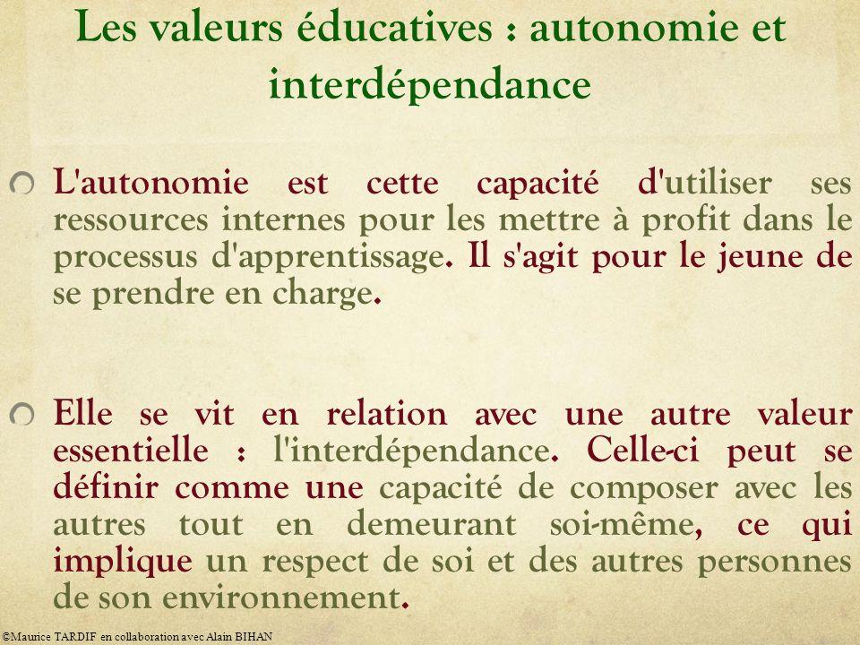 Les valeurs éducatives : autonomie et interdépendance