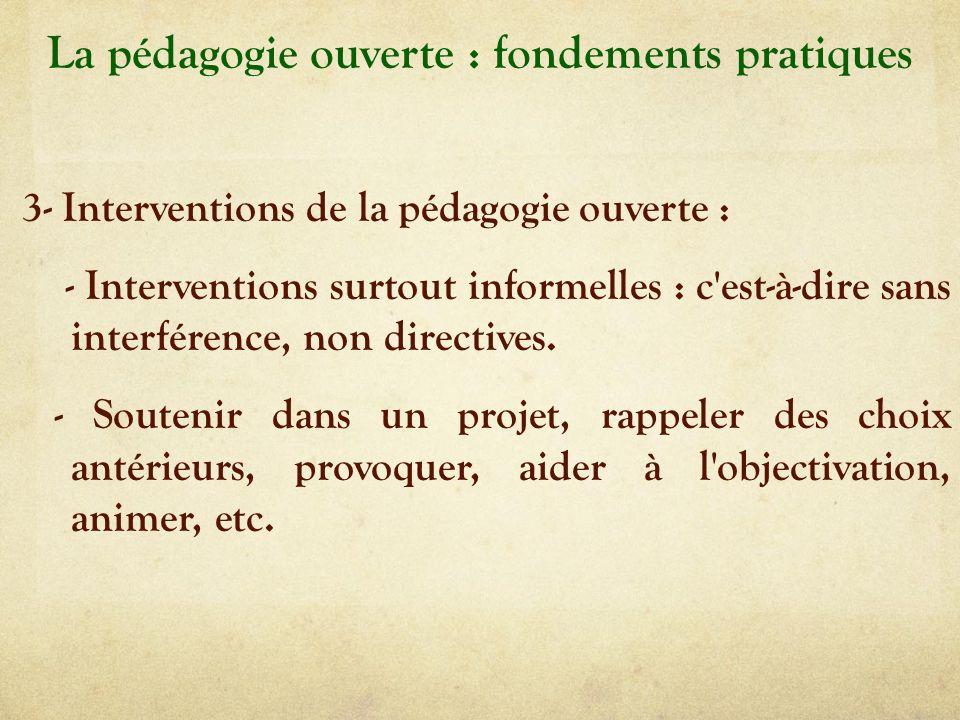 La pédagogie ouverte : fondements pratiques