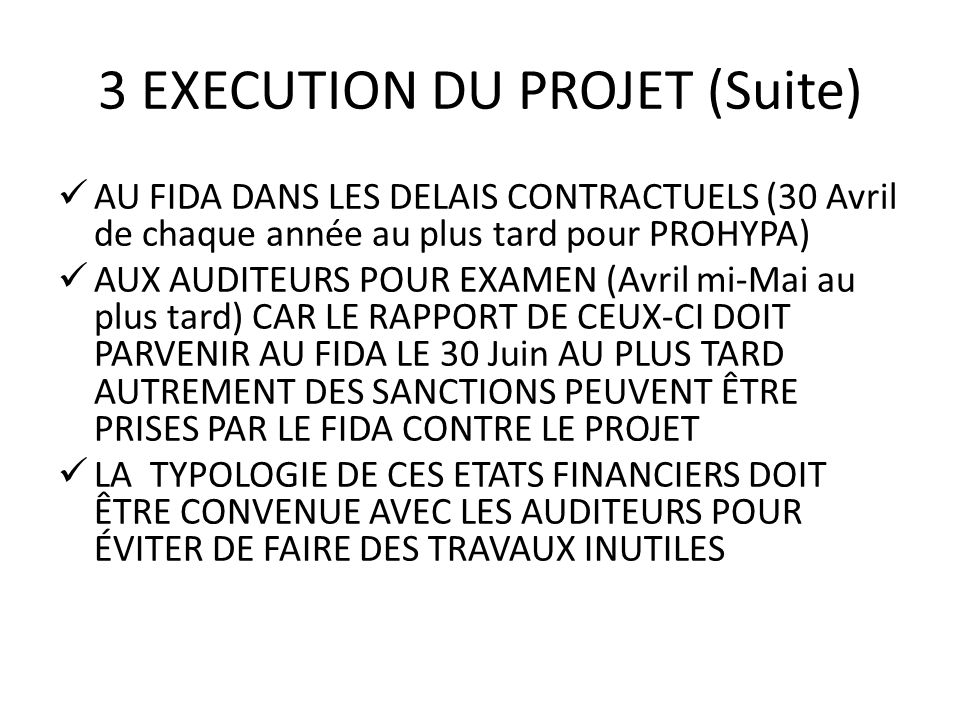3 EXECUTION DU PROJET (Suite)
