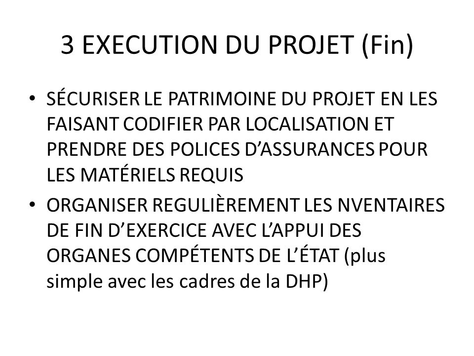 3 EXECUTION DU PROJET (Fin)
