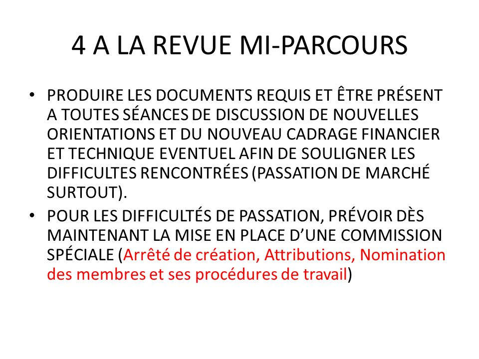 4 A LA REVUE MI-PARCOURS