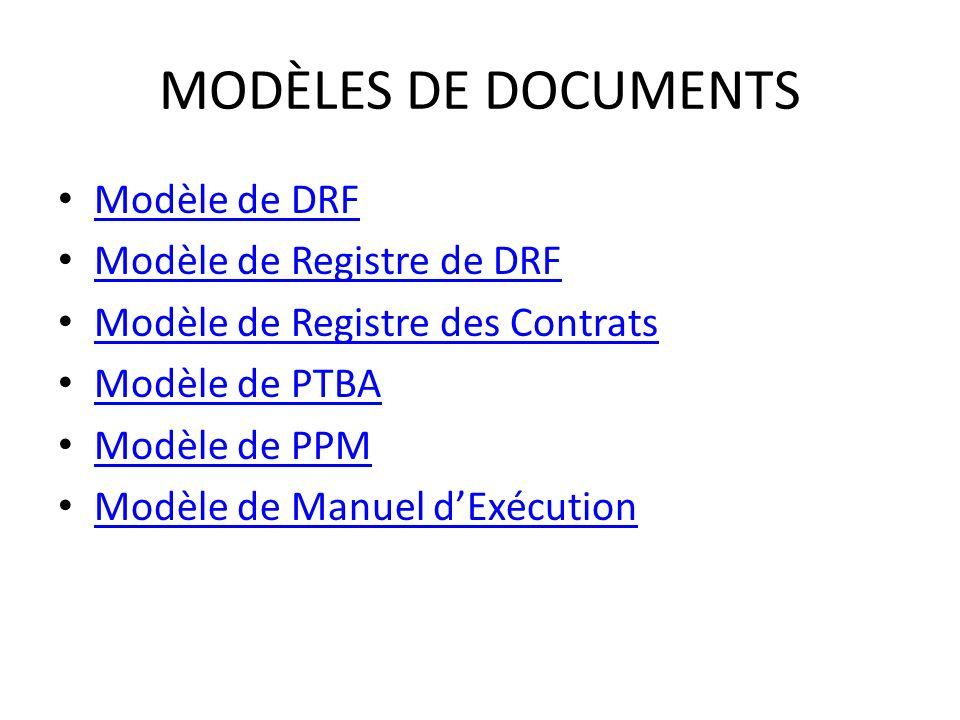 MODÈLES DE DOCUMENTS Modèle de DRF Modèle de Registre de DRF