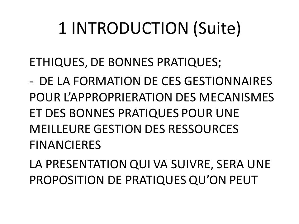 1 INTRODUCTION (Suite)