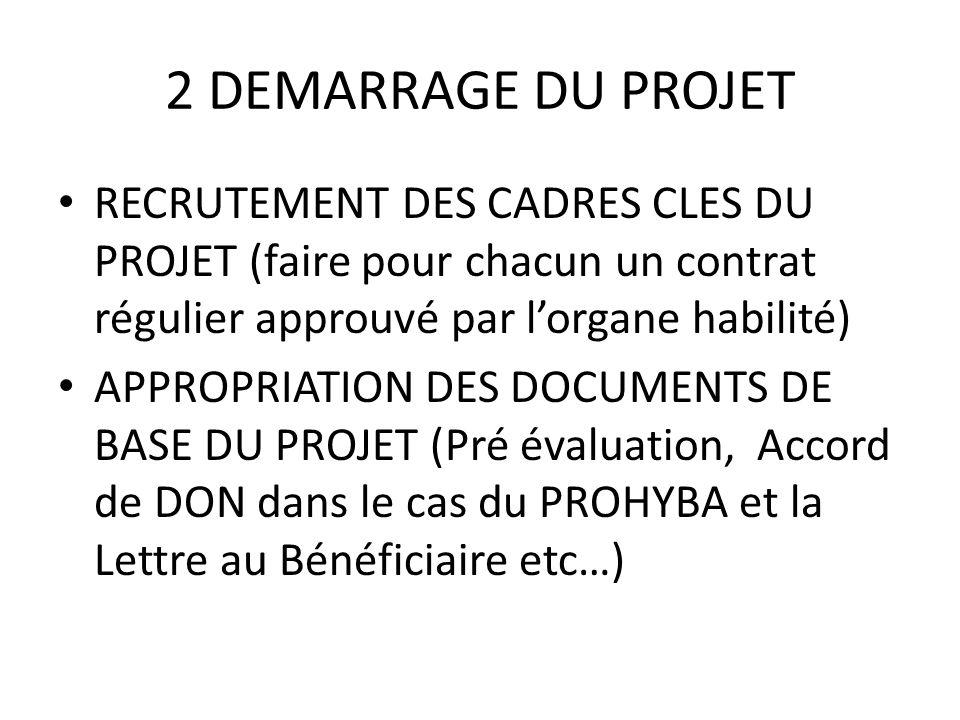 2 DEMARRAGE DU PROJET RECRUTEMENT DES CADRES CLES DU PROJET (faire pour chacun un contrat régulier approuvé par l'organe habilité)