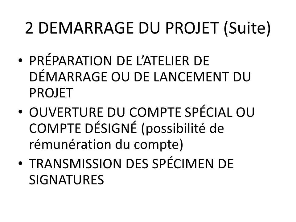 2 DEMARRAGE DU PROJET (Suite)